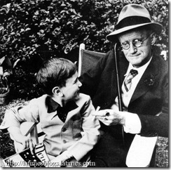 Photo: James Joyce in 1939 with his grandson. Credit: LA Times File Photo