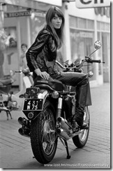 Francoise Hardy and Motorcycle