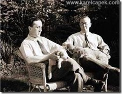 Karel and Josef Capek with their dogs