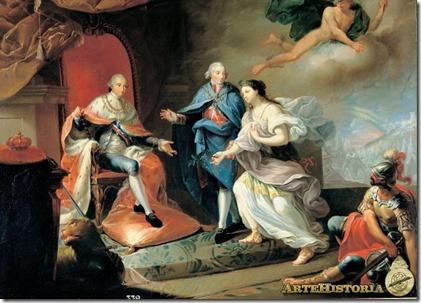 Manuel Godoy presenta la Paz a Carlos IV