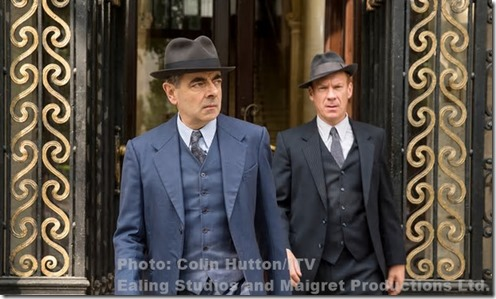 Rowan Atkinson and Shaun Dingwall in Maigret Sets a Trap. Photograph: Colin Hutton/ITV/Ealing Studios and Maigret Productions Ltd