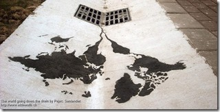 The world going down the drain by Pejac