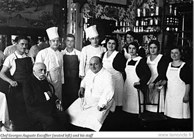 Auguste Escoffier with his staff