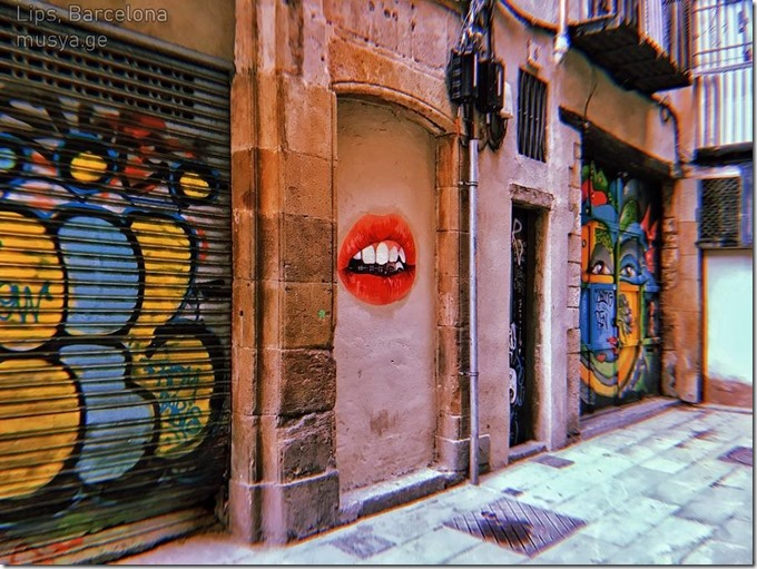 Lips at Barcelonas streets