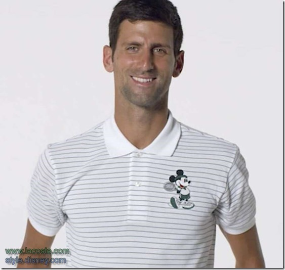 Novak Djokovic in Lacoste-Disney tennis polo
