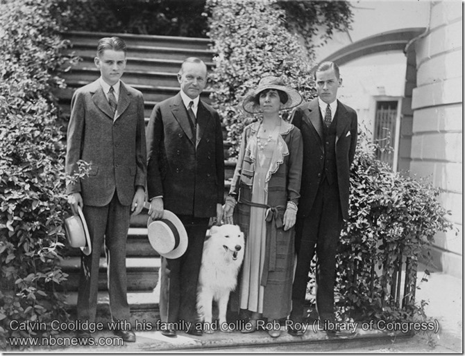 Calvin Coolidge with his family and collie Rob Roy