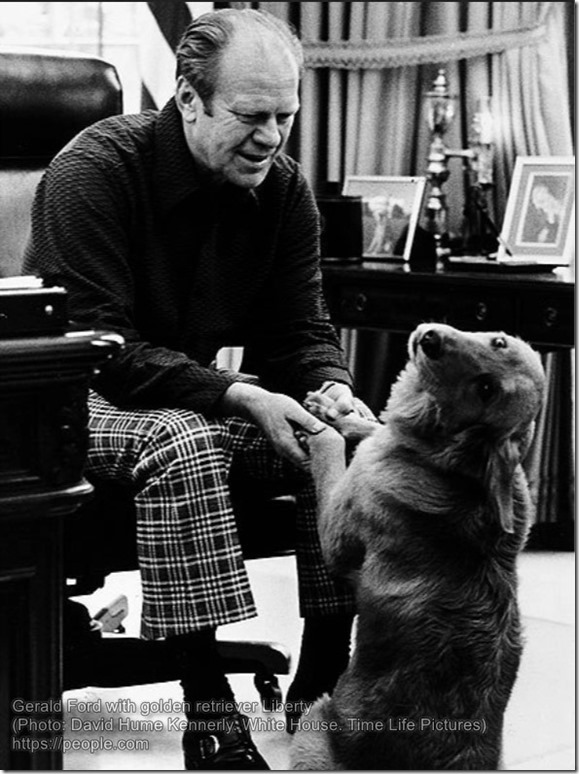 Gerald Ford with golden retriever Liberty