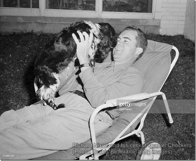 Richard Nixon and his cocker spaniel Checkers